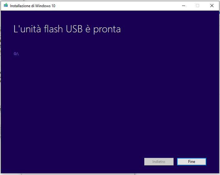 Come creare una chiavetta USB per installare Windows 10 fine