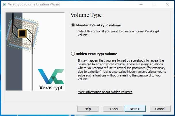 Come creare un archivio protetto con VeraCrypt in Windows volume type
