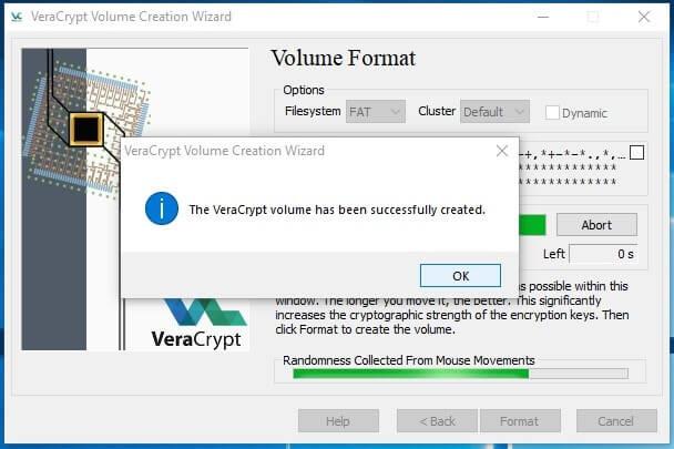 Come creare un archivio protetto con VeraCrypt in Windows volume created