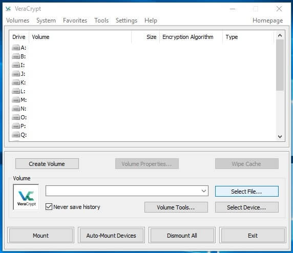 Come creare un archivio protetto con VeraCrypt in Windows select file