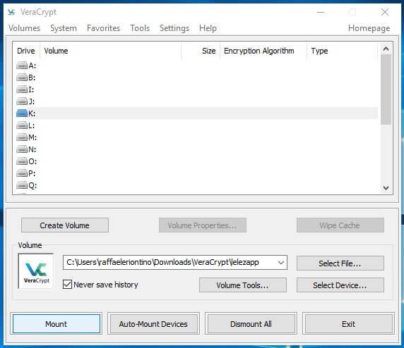 Come creare un archivio protetto con VeraCrypt in Windows mount