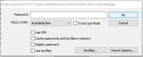 Come creare un archivio protetto con VeraCrypt in Windows password ok