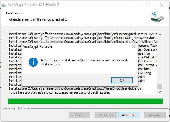 Come creare un archivio protetto con VeraCrypt in Windows fine estrazione