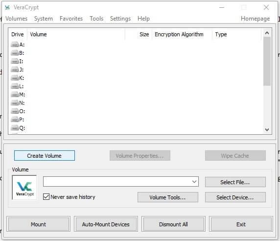 Come creare un archivio protetto con VeraCrypt in Windows create volume