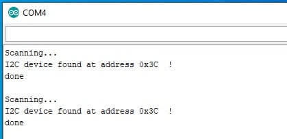 Trovare indirizzo I2C di un modulo con Arduino. Risultati Serial Monito scanner I2C