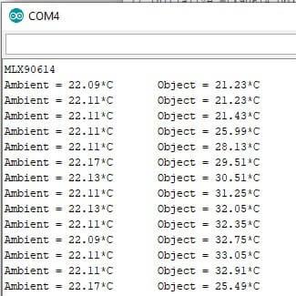 Termometro Infrarossi con sensore MLX90614 e Arduino Nano. Risultato valori su monitor seriale