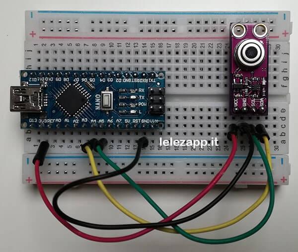 Termometro Infrarossi con sensore MLX90614 e Arduino Nano. Circuito reale