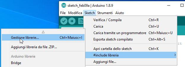 Gestione Libreria da Arduino IDE