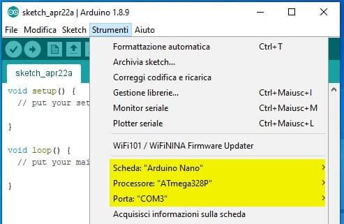 Setup Scheda Processore e porta COM da Arduino IDE