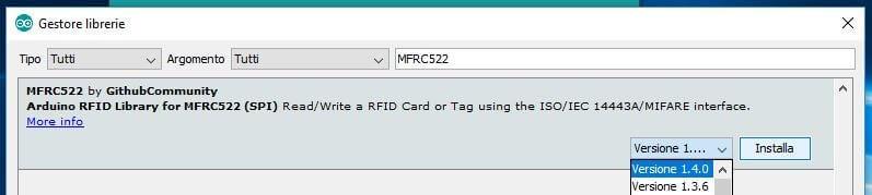 Come leggere chip RFID con Arduino ATmega328P e modulo MFRC522 ricerca libreria