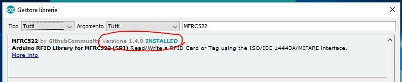 Come leggere chip RFID con Arduino ATmega328P e modulo MFRC522 conferma installazione
