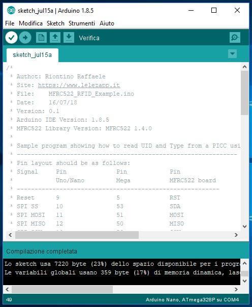 Come leggere chip RFID con Arduino ATmega328P e modulo MFRC522 verifica sketch