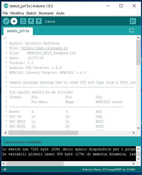 Come leggere chip RFID con Arduino ATmega328P e modulo MFRC522 carica sketch