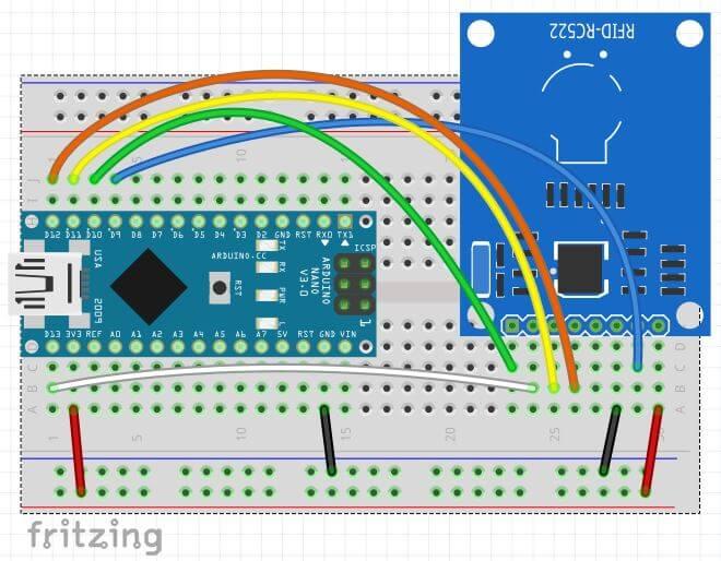 Come leggere chip RFID con Arduino ATmega328P e modulo MFRC522 circuito fritzing