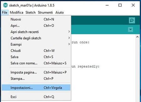 Generare il bootloader in formato hex per Arduino impostazioni ide