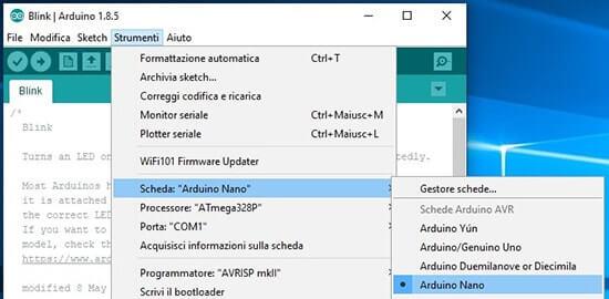 Generare il bootloader in formato hex per Arduino scheda arduino nano