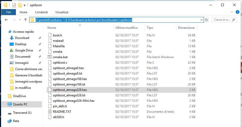 Generare il bootloader in formato hex per Arduino optibot