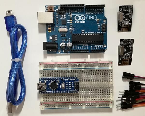 Comunicazione Wireless tra due board Arduino con moduli nRF24L01. Materiale occorrente per il progetto