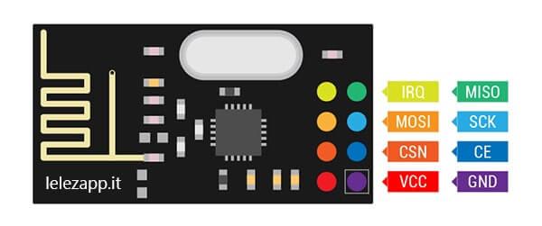Comunicazione Wireless tra due board Arduino con moduli nRF24L01. Pinout modulo nRf24L01