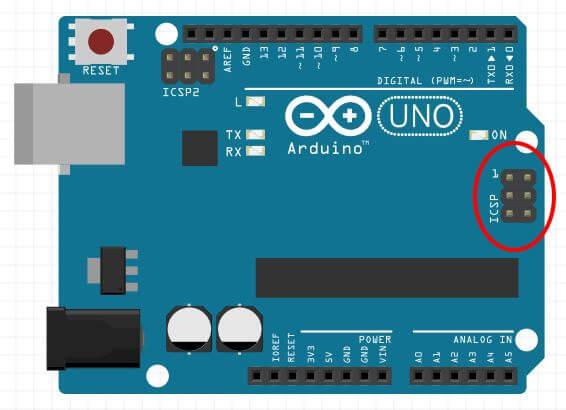 Posizione connettore ISP su Arduino UNO Rev3