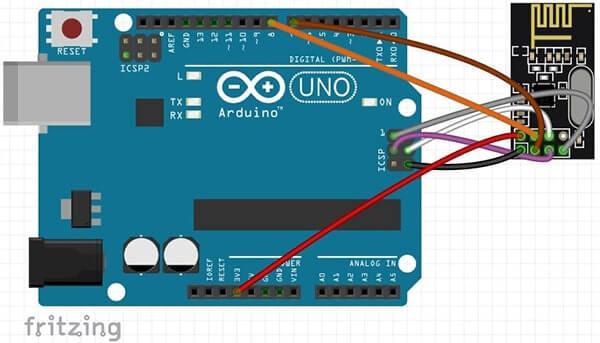 Comunicazione Wireless tra due board Arduino con moduli nRF24L01. Circuito Arduino UNO Rev3 e modulo nRF24L01