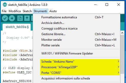 Utilizzare un display I2C LCD SSD1306 con Arduino. Configurazione board scheda e porta com