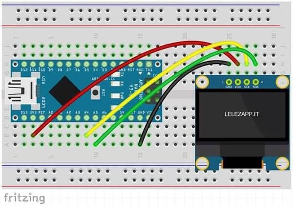 Circuito collegamento display I2C LCD SSD1306 con Arduino Nano