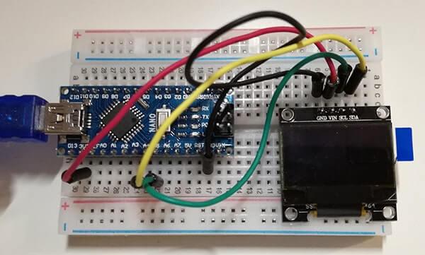 Utilizzare un display I2C LCD SSD1306 con Arduino Circuito