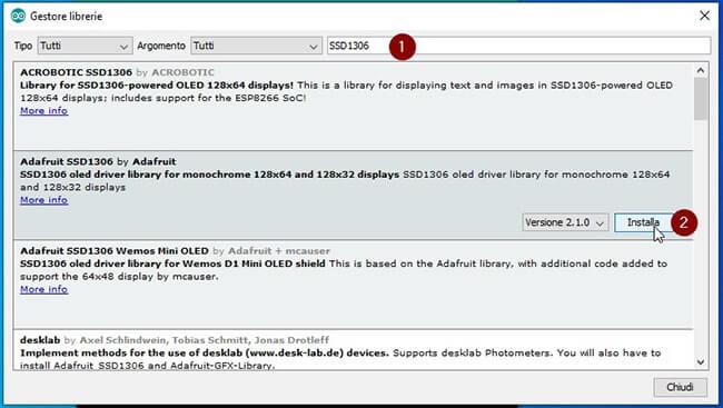 Installazione libreria Adafruit_SSD1306