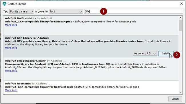 Installazione librerie Adafruit_GFX