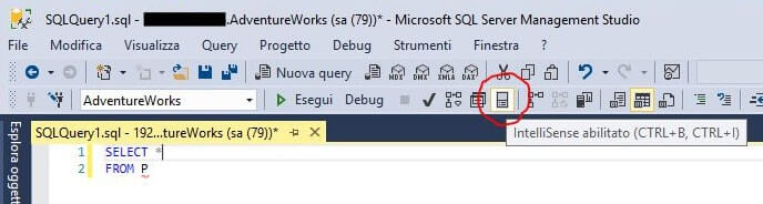 Attivare o disattivare autocompletamento query in SQL Server Management Studio SSMS intellisence