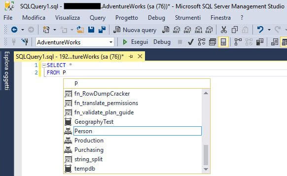 Attivare o disattivare autocompletamento query in SQL Server Management Studio SSMS intellisence attivo