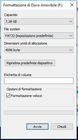 Come formattare una chiavetta USB da Esplora file in Windows parametri
