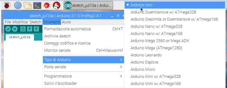 Come programmare Arduino da Raspberry PI selezione scheda