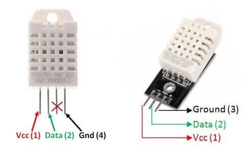 Leggere temperatura e umidità con Arduino Nano e sensore DHT22 pinout