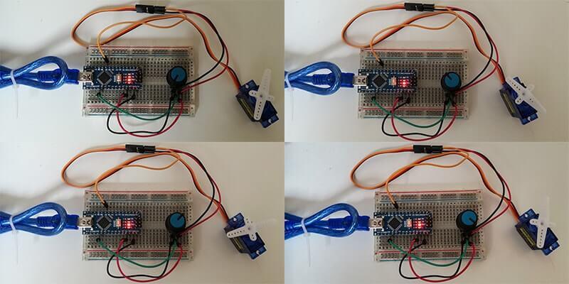 test rotazione micro servo con potenziometro