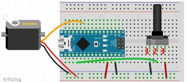 Pilotare un Micro Servo SG90 con Arduino circuito fritzing