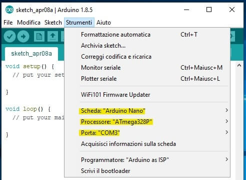 setup scheda su Arduino IDE
