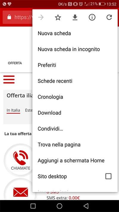 Progressive Web App Iliad per controllare credito e consumi menù