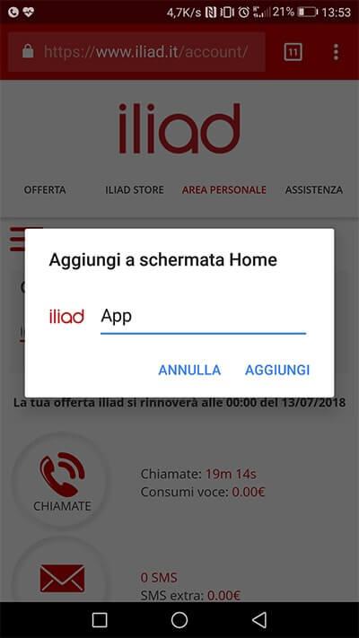 Progressive Web App Iliad per controllare credito e consumi aggiungi