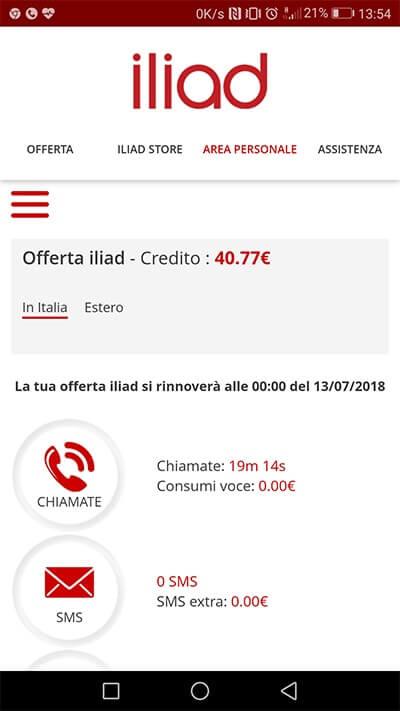 Progressive Web App Iliad per controllare credito e consumi visualizzazione dati offerta
