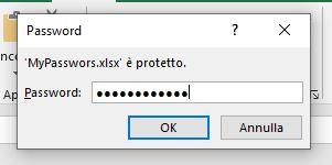 Proteggere con password un file EXCEL. Richiesta password