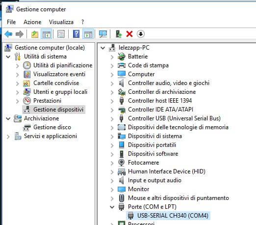 Programmare Arduino Nano ATmega328P CH340G con Arduino IDE in Windows verifica installazione