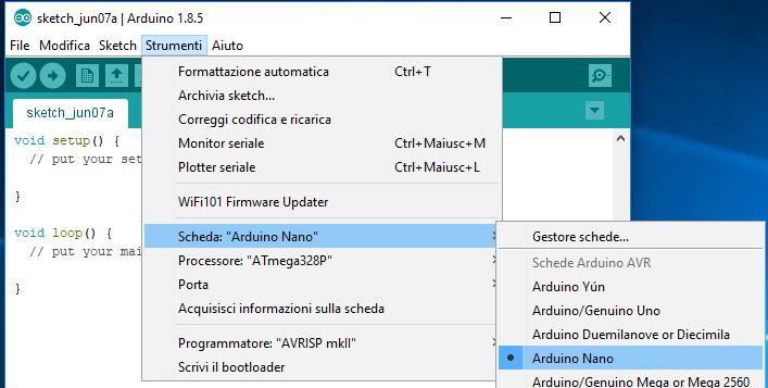 Programmare Arduino Nano ATmega328P CH340G con Arduino IDE in Windows selezione scheda