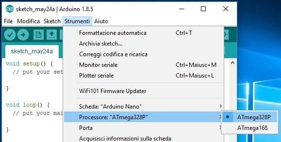 Programmare Arduino Nano ATmega328P CH340G con Arduino IDE in Windows selezione processore