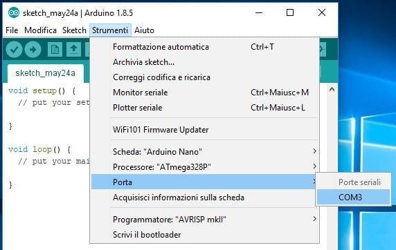 Programmare Arduino Nano ATmega328P CH340G con Arduino IDE in Windows selezione porta