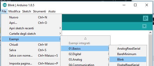 Programmare Arduino Nano ATmega328P CH340G con Arduino IDE in Windows selezione sketch blink