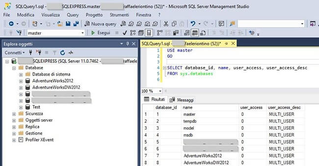 Modalità SINGLE_USER, RESTRICTED_USER e MULTI_USER in SQL Server