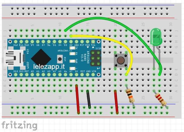 Accendere un LED tramite pulsante con Arduino circuito fritzing