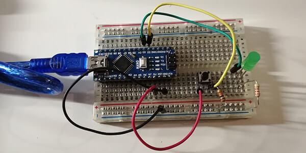 Accendere un LED tramite pulsante con Arduino circuito reale